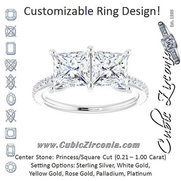 Cubic Zirconia Engagement Ring- The Minerva (Customizable Enhanced 2-stone Princess/Square Cut Design with Ultra-thin Accented Band)