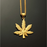18K Gold Plated Weed Leaf Necklace