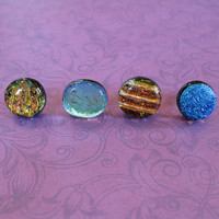 Mismatched Earrings, Dichroic Earrings, Button Earrings, Fashion Earring Jewelry, Mismatched Earing - Oil & Water - 1945 -3