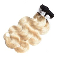 russian blonde ombre 1b/613 human hair weave 1 bundle non remy body wave Brazilian hair