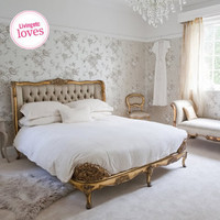Versailles Upholstered Gold Bed|Beds|Beds & Mattresses|French Bedroom Company
