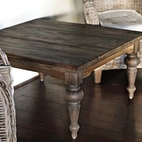 Hygge Rectangular coffee table Reclaimed dark stain + teak shield