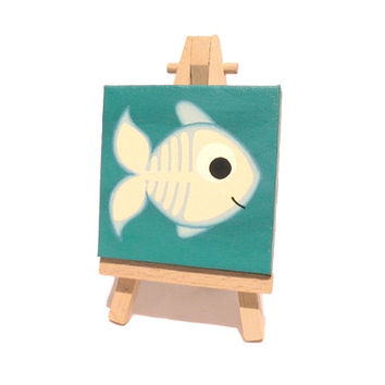 X-Ray Fish miniature art - small acrylic painting of cute see through fish in a turquoise sea, skeleton artwork on mini canvas with easel