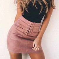 Lace-Up Suede Skirts Short Casual Women Pocket Back Zipper Skirts Sexy Streetwear High Waist Tube Bodycon Mini Skirts