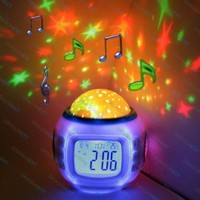 Lily's Home® Starry Night Projector and Sound Shooter. With 6 Lullabies and 4 Nature Sounds. Large LCD Alarm Clock