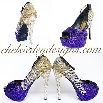 Wedding Glitter Peep Toe Pumps, Purple Gold Ombre High Heels