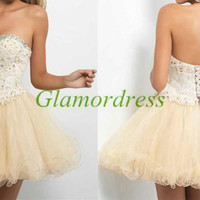 short cute holiday dresses with swarovski crystals / unique sweetheart gowns for homecoming party / cheap lace and organza prom dress