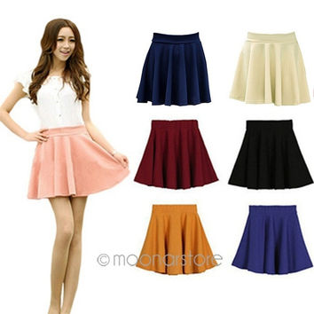 Fashion Women's Candy Color Stretch Waist Pleated Jersey Plain Skater Flared Mini Skirts = 1958258756