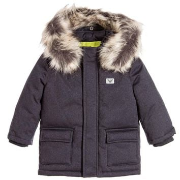 Baby Boys Down Coat with Faux Fur Hood