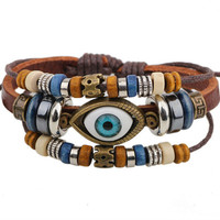 Handmade Turkish Eye Leather Adjustable Bracelet Wristband Jewelry Unisex