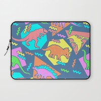 Nineties Dinosaur Pattern Laptop Sleeve by Chobopop