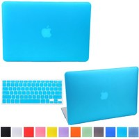 """HDE MacBook Air 13"""" Case Hard Shell Cover Solid Rubberized Matte Plastic + Keyboard Skin - Fits 13.3"""" Apple Mac Air Notebook Model A1369 / A1466 (Teal)"""