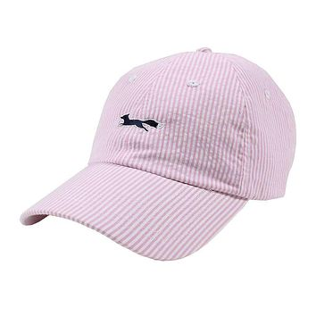 Longshanks Logo Hat in Pink Seersucker by Country Club Prep