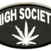 """Embroidered Iron On Patch - High Society Pot Leaf 3.5"""" x 2"""" Patch"""