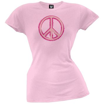 Peace Sign Pink Juniors T-Shirt