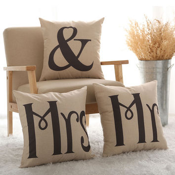 Couples Cotton Linen Mr & Mrs Knitted Cushion Cover Decorative Pillow Covers Wedding Gift Home Decor Pillowcase 45*45 cm no core