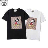 GUCCI x Disney co-branded double G graffiti printed round neck half-sleeved T-shirt