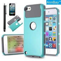 iPod Touch 5 Case,iTouch 6 Case,AnnBay(TM) for iPod Touch 5/6 2in1 Hybrid Case Dual Layer Armor Case Hard Cover Case+Soft TPU Heavy Duty Cover Case(Teal Blue/Gray)