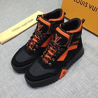 Louis Vuitton LV Black/Orange Fashion Men Women Casual Sneakers Sport Shoes Size 36-45