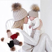 Mother Child Baby Toddler Kids Girls Boys Warm Hat Winter Beanie Knitted Cap