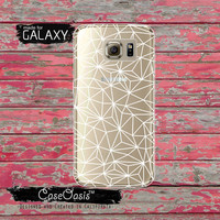 White Geometric Line Crack Line Art Cool Tumblr Inspired Clear Galaxy S6 Case and Clear Galaxy S6 Edge Case Custom Samsung Case