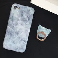 Newest Marble Stone Case Nano-materials Cover for iPhone 7 5s se 6 6s Plus + Ring + Gift Box
