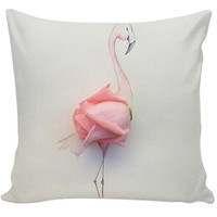 Flamingo Rose Art Couch Pillow