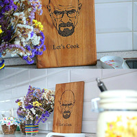 Breaking Bad Personalized Cutting Board , Let's Cook, Kitchen Heisenberg Engraved, Walter White, Custom Engraved, Gift for him, Anniversary