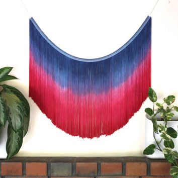 Boho Decor, Fringe Wall Hanging, Tapestry, Blue and Pink Dyed