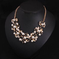 Simulated Pearl Necklaces & Pendants Leaves Statement Necklace Jewelry for Personalized Gifts