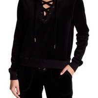 DCCKHB3 Betsey Johnson   Lace Up Velour Pullover