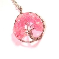 Pink Cherry Blossom Necklace, Tree of Life Pendant