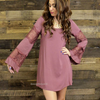 Sweet Vibes Ruby Lace Bell Sleeve Dress