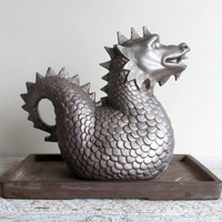 Ceramic Dragon or Griffin Incense Burner  -  Vintage Painted Dragon on Vintage Tray  -  Medieval Decor - Gothic Game of Thrones