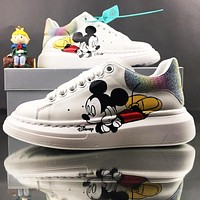 Alexander McQueen Cartoon Mickey Mouse Round Toe Low-Top Casual Shoes Sneakers