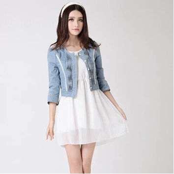 outwear jeans plus size women clothing 2016 sping and autumn short design pearl diamond denim jacket  female coats
