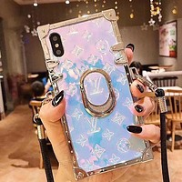 LV Louis Vuitton Raiser embossed letters personalized mobile phone protective case 7 7plus 8 8plus iPhone X XR XS XS MAX