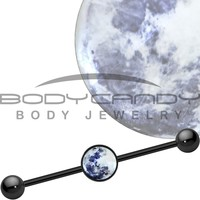 Mother of Pearl Moon Industrial Barbell