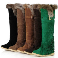 Winter Fashion Womens Shoes Over the Knee Snow Boots Flat Heel Tassel Women Buckle Suede Boots Round Toe Warm Boots Big Size 34 - 43 = 1946253828