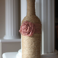 Twine Wrapped Rustic Vase, Wedding Centerpiece, Home Decor, Wedding, Home Accents, Romantic, Rose, Romantic Wedding, Rustic Accent