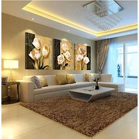 3pcs(no frame)art orchid canvas oil painting poster living room pictures on the wall Modular pictures Print cuadros decoracion