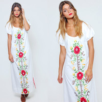 Vintage 70s MEXICAN Dress White EMBROIDERED Ethnic Hippie Dress Boho Festival Caftan