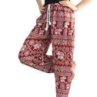 Bangkokpants Women's Yoga Pants Boho Peacock Design Elephant Pants Bangkokpants Women's Yoga Pants Boho Peacock Design Thai Pants Gypsy Pants Yoga Pants Drop Trouser