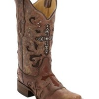 Corral® Women's Cognac Wash w/ Stud Cross Square Toe Western Boot