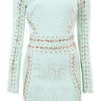 Clothing : Bodycon Dresses : 'Peyton' Mint Stretch Jacquard Long Sleeve BodyCon Dress - Limited Edition