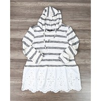 Striped Vintage Lace Hem Women's Hoodie Sweater Top