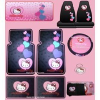 Hello Kitty Ultimate Auto Accessory Package - Front & Rear Floor Mats, Seat Covers, Steering Wheel Cover, CD Visor Organizer, Sun Shade & Keychain, Plate Frame, License Plate, Fuzzy Dice, Decals & Bling Kit