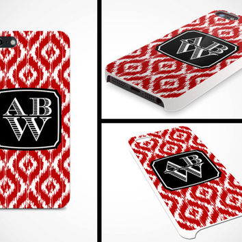 iPhone 5 Cell Phone Case Custom Color Ikat Damask Initials Monogram Apple Sorority Personalized Protective White Plastic Hard Cover VM-1061