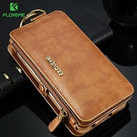 FLOVEME Luxury Retro Wallet Phone Cases For Apple iPhone 7 6 6s Plus Cover Leather Handbag Bag Cover for iphone7 6 6s Case Coque
