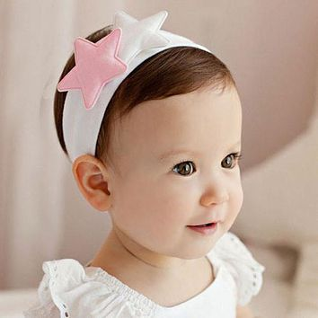 1 PC Pink White Kids Girl Baby Toddler Newborn Cute Star Headband Headwear Hairband Accessories Newly Hair Band Accessories